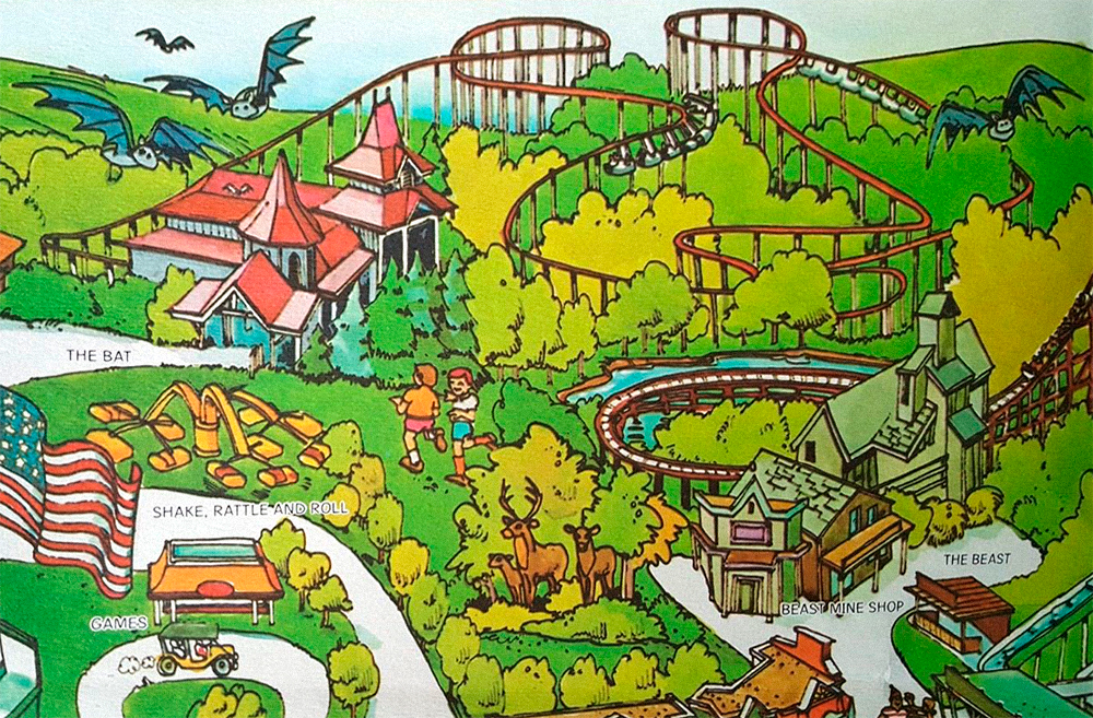 The Bat  on Kings Island 1982 souvenir park map poster.