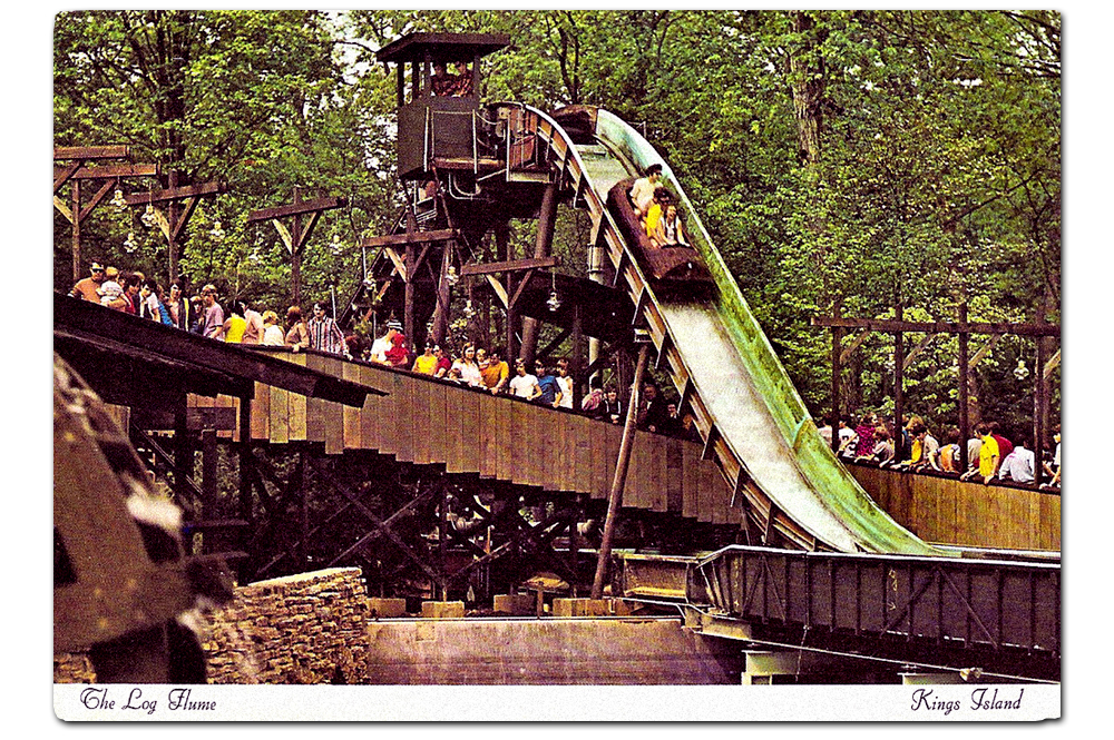Vintage postcard,  Kings Mills Log Flume .