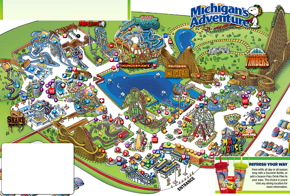 Michigan's Adventure 2017 park map.