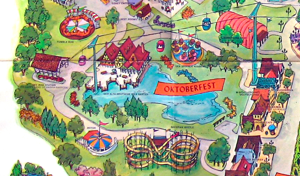 Oktoberfest  on Kings Island 1972 souvenir park map poster.