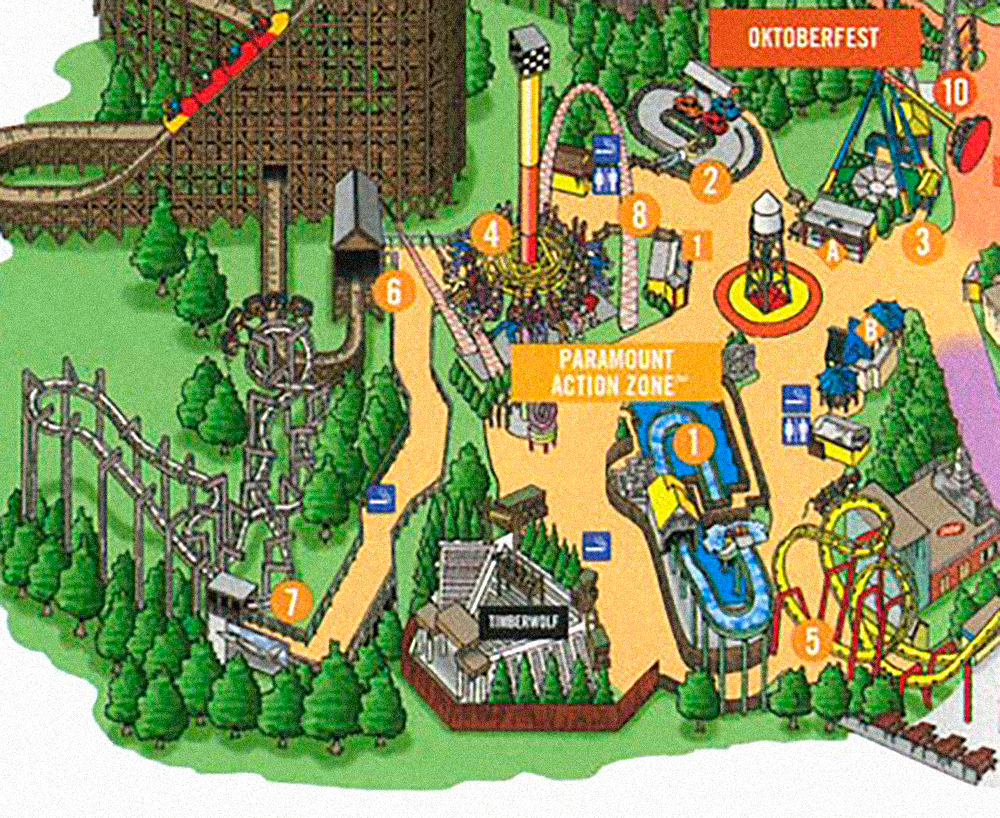 Kings Island park map, circa 2000.