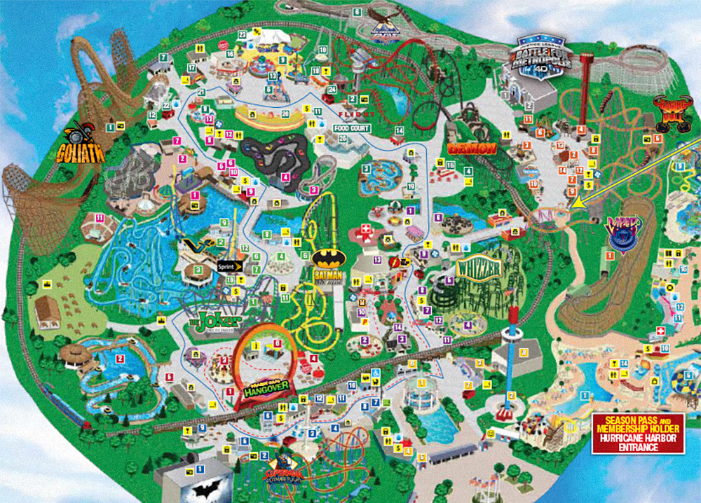 Six Flags Great America 2017 park map.