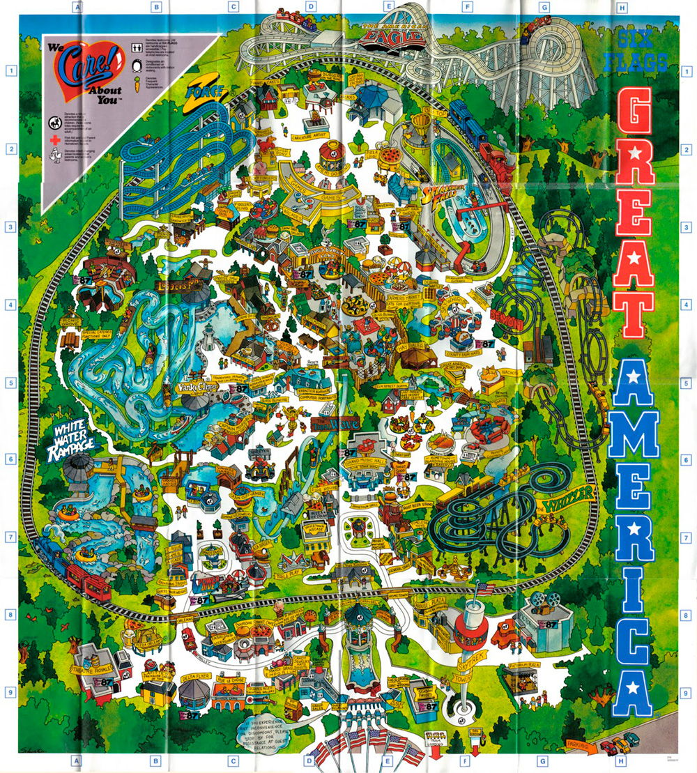 Six Flags Great America 1987 souvenir park map poster.
