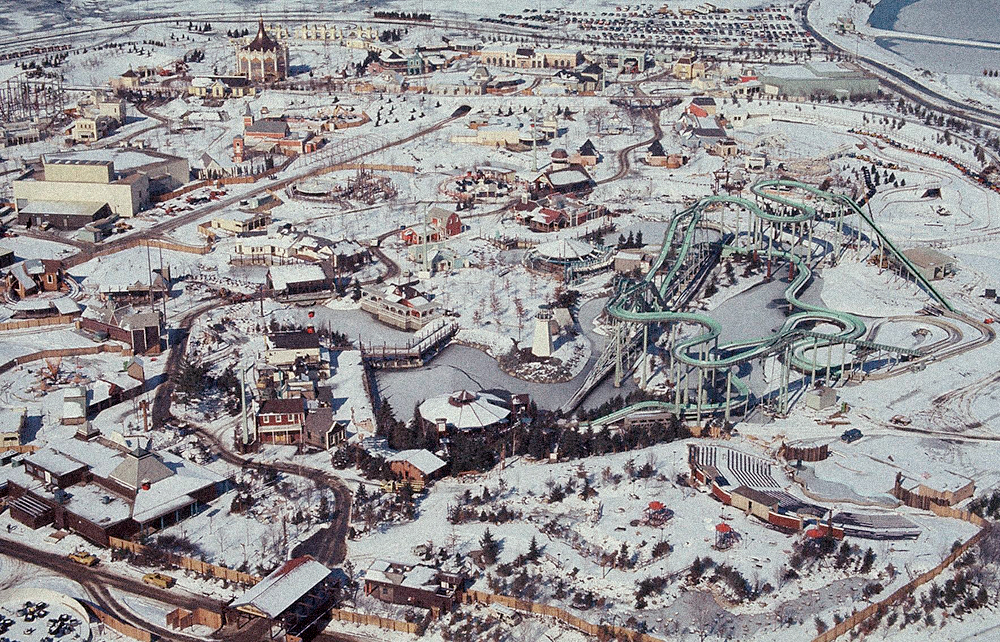 Great America under construction, winter of 1975–76.