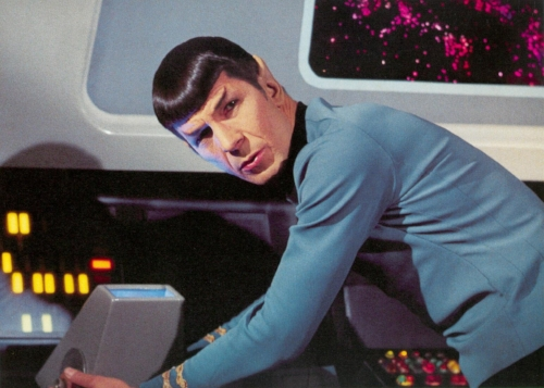 Spock from Star Trek gives a quizzical, logical look at the reader.