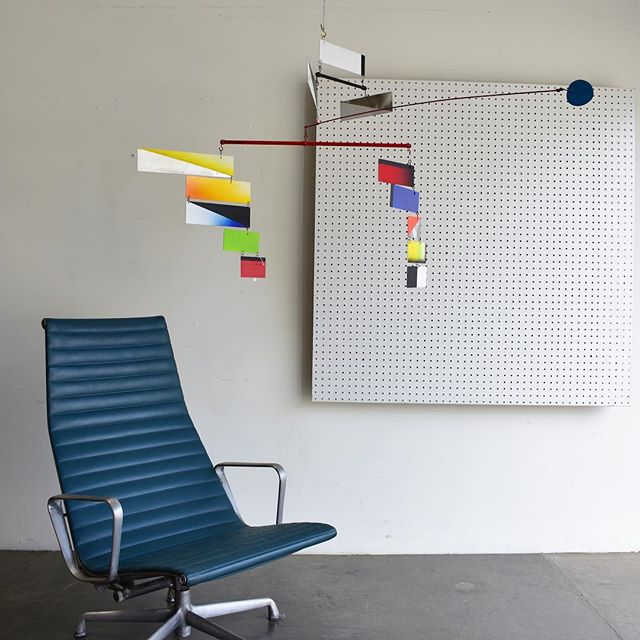 "Amazing mobile by contemporary artist Brad Howe. This is one of his first mobiles made in the late 80's and was inspired by his travels to Brazil. Signed and comes with pamphlet from Galerie Uli Lang. On sale for $1250 originally $2500. #bradhowe #mobile #modernism #postmodernism #eames #aluminumgroup #postwarmodern #redlands #palmsprings #losangeles approx 28""x56"""