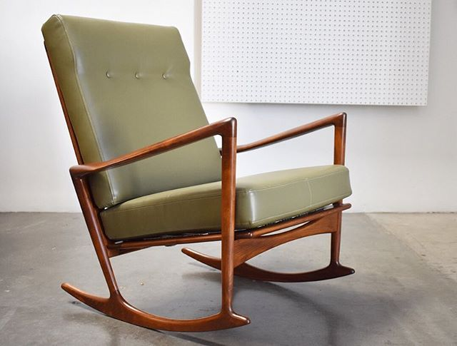 This Ib Kofod Larsen rocking chair is another favorite restoration I worked on this year. It arrived half stripped and and dry as a bone. @typicalchad bought it unfinished and customized the whole piece. I completely stripped and sanded the beech frame, re stained it in a medium walnut and applied a hand rubbed oil finish. They selected the perfect olive green recycled leather to compliment the newly finished wood frame. Brand new Pirelli webbing finished it off and it headed to their nursery this summer just in time for their new arrival 👶🏻. I'll be posting a few more of my favorite restorations from this year leading up to announcing the new shop name later this month. Stay tuned! #restoration #refinishing #laboroflove #midcenturyrestoration #midcenturyrockingchair #ibkofodlarsen #kofodlarsen #woodworking #recycledleather #modernism #1950s #1960s #vintagemodern