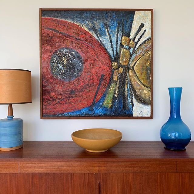 """Just brought two amazing oil paintings into the shop by local SoCal artist Dan Hukill. The colors and texture on this one are amazing. DM for details. 37.5""""x38.5""""  #modernart #oilpainting #danhukillart #danishmodern #gaineyceramics #eragallery #midcenturymodern #supportlocalartists #redlands #riverside #palmsprings #losangeles"""