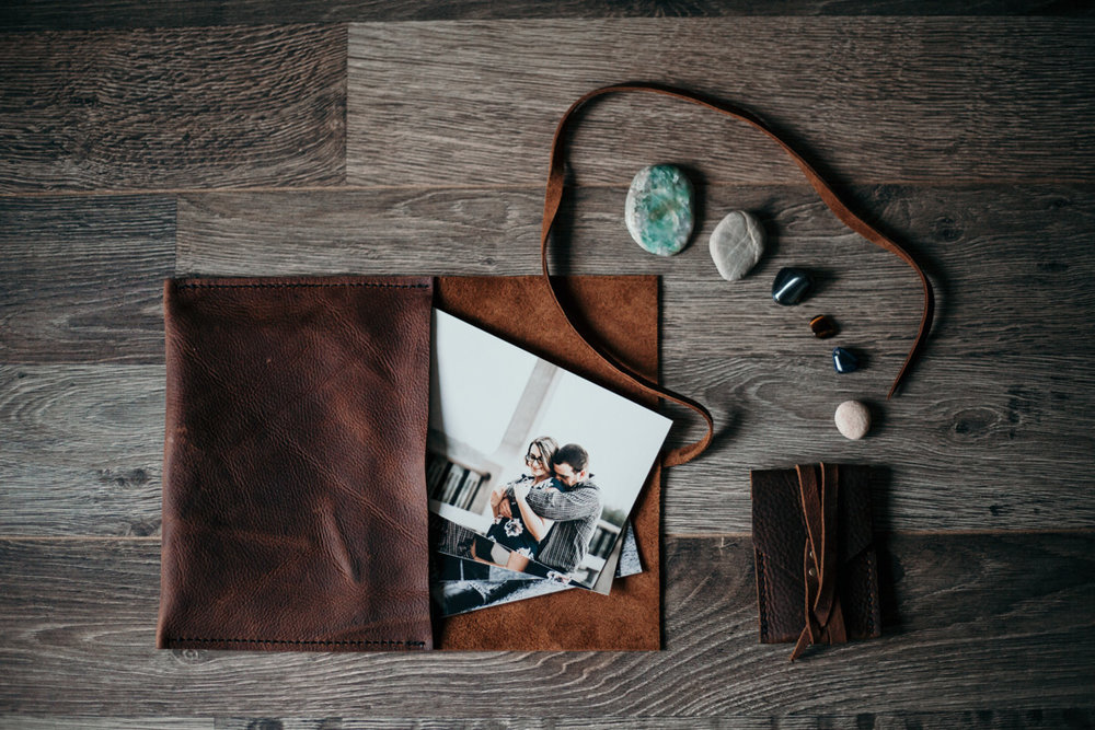 Beautifully handcrafted leather satchel featuring your 20 fine art prints from your engagement session