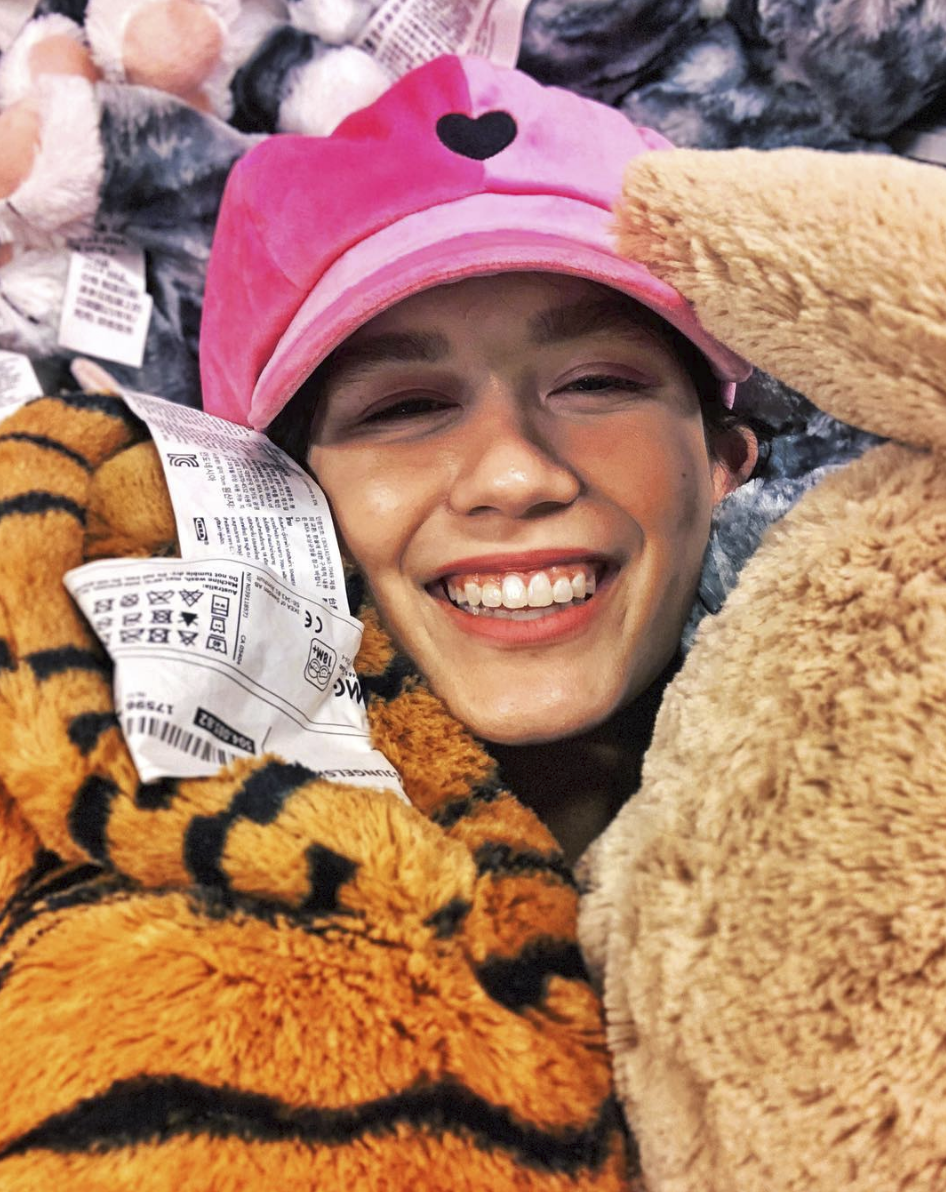 tiffany kennedy in lazy oaf at ikea