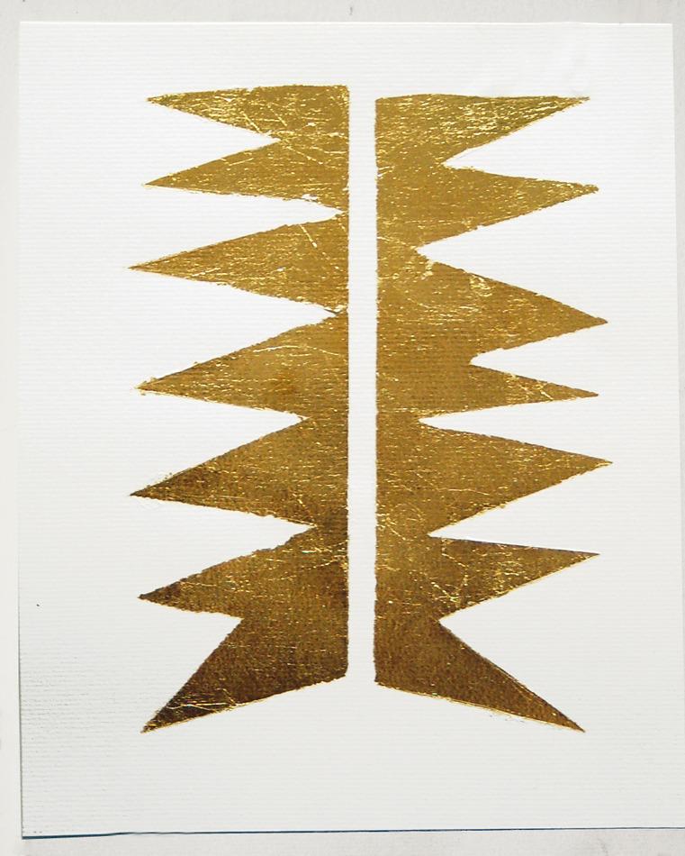 """white-0n-white :     Untitled 2012   metal leaf on paper   7"""" x 11""""   Anna Mikhailovskaia    www.annamikhailovskaia.com"""