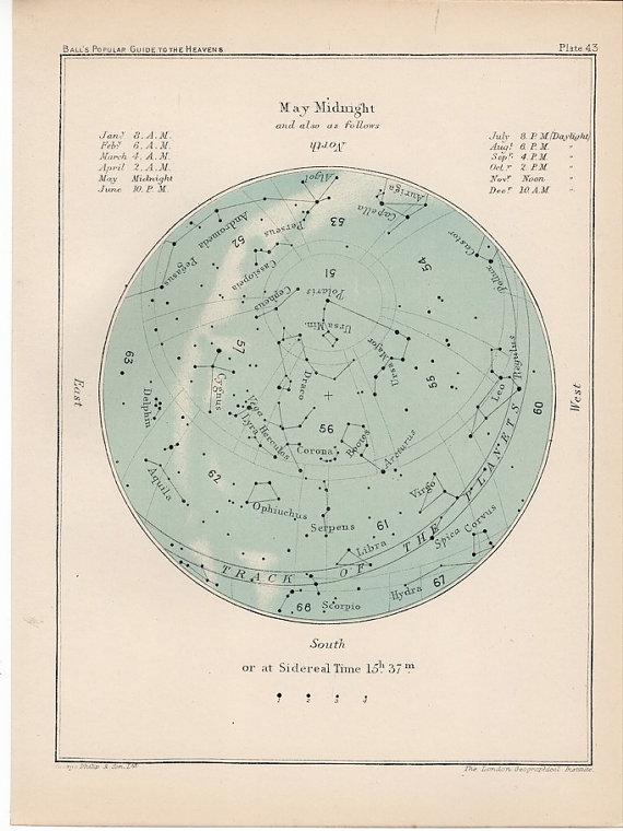 foxontherun :     (via  1910 may month rare celestial star map by antiqueprintstore )