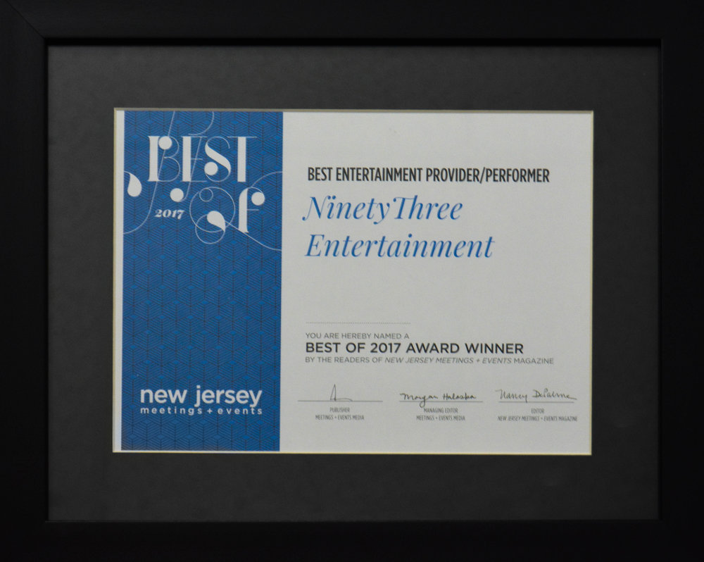 Best Entertainment Provider/Performer, 2017 (New Jersey Meetings + Events Magazine)
