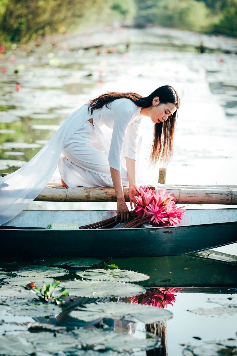 Vietnam model in traditional dress collecting lotus