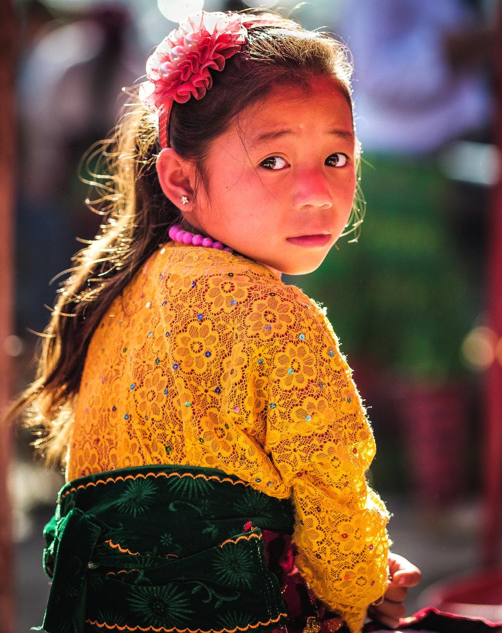 A hilltribe Child in Northen vietnam minority market
