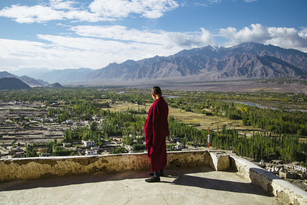 A Buddhist monk staring at the vast Himalayan ranges.