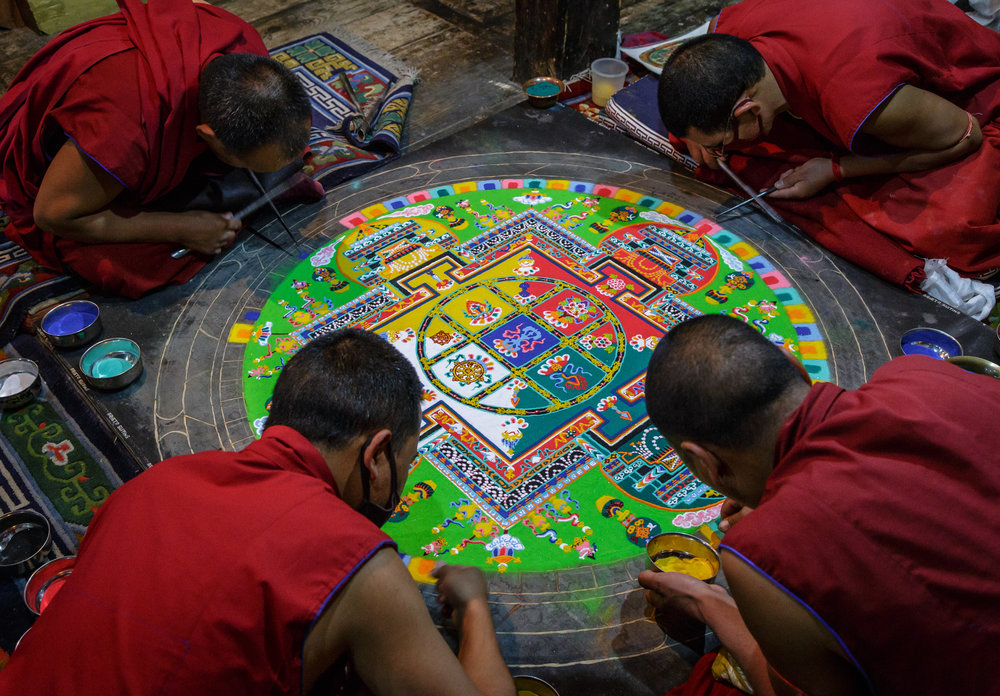 Buddhist monks creating Mandala in thiksey monastery in Ladakh i