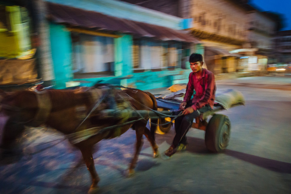 A young man riding a horse cart in the streets of Mandawa during