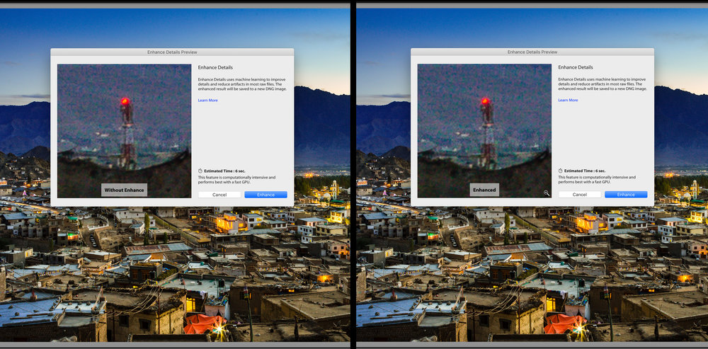 Screenshots of the same image with and without enhance details feature. Note the estimated time for the process - 6 sec on an 5K iMac with Intel core i5, 24GB DDR3 Ram, 2048MB AMD Radeon Graphics card.