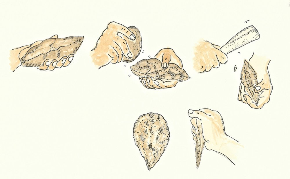 The process of knapping involves chipping a stone to create sharp edges and sometimes a symmetrical, aesthetic tool like the handaxe. (Illustration inspired by Encyclopedia Brittanica)