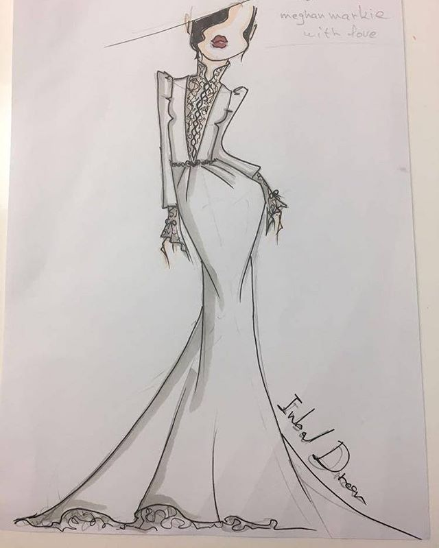 Episode 8 out now! Inbal Dror's sketch of one of the royal wedding dress designs.