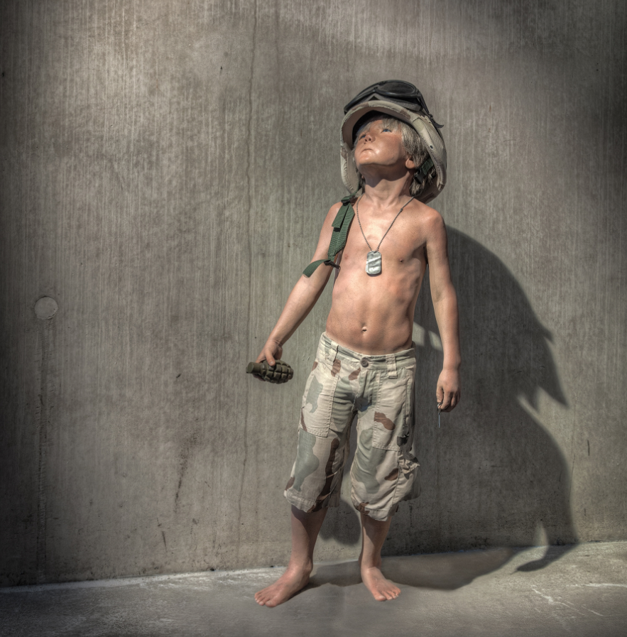 Schoony's   most famous and iconic work, 'Boy   Soldier', has been developed into many formats...