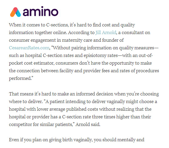 How Much Does It Cost to Have a Baby?   - Interview with Hannah Levy of Amino.com. January 2017.