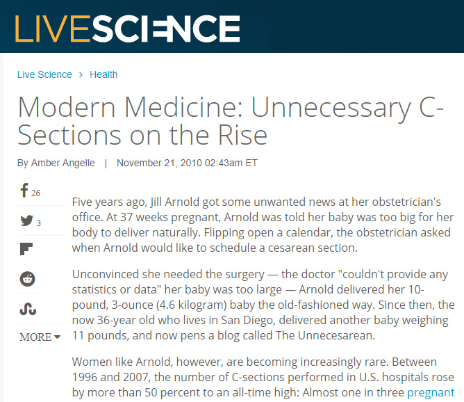 Live Science - Interviewed for a 2010 article on the rise of unnecessary cesareans.