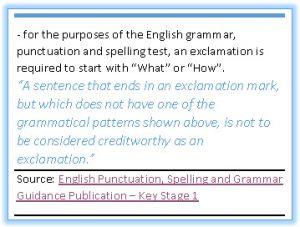 KS1 exclamation mark guidance