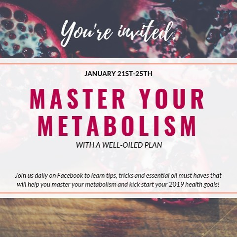 Join us January 21st -25th, 2019 to Master Your Metabolism with a well oiled plan!  We will have daily focus on oils, habits and an eBOOK with additional supporting recipes to aid in your journey of RESETTING a healthy Metabolism! Click the group link in BIO and ask to join and we will add you!  It will be a week of new healthy habits to set your body up for SUCCESS in 2019! #2019success #metabolism