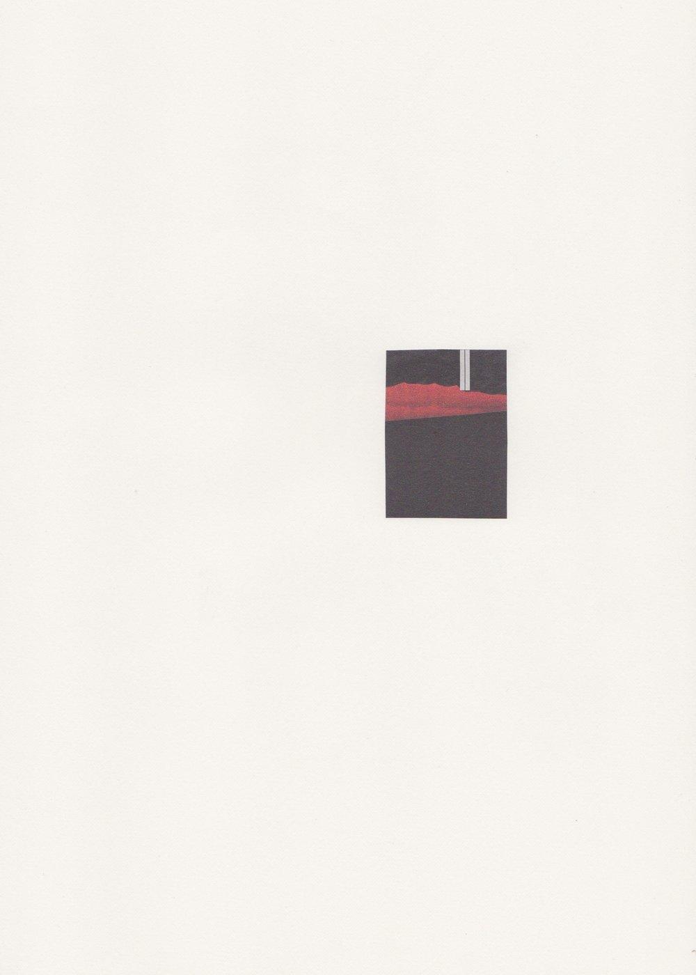 Ultra moderne solitude - Assemblage sur papier velin - Collage 4,9 x 3,6 cm - 2017