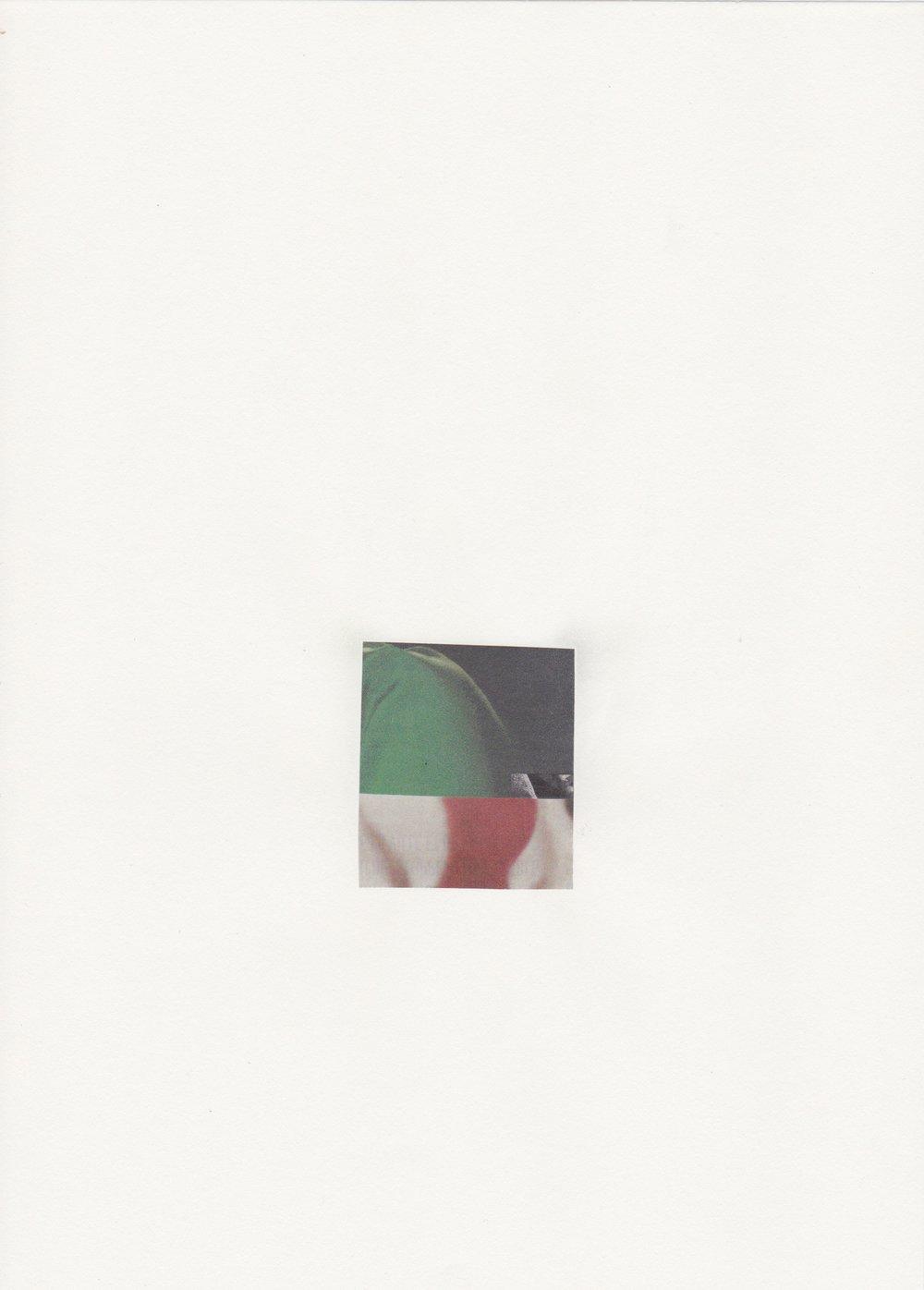 Flashback - Assemblage sur papier velin - Collage 5,5 x 4,8cm - (Encadré 31,9 x 23,2 cm) - 2017