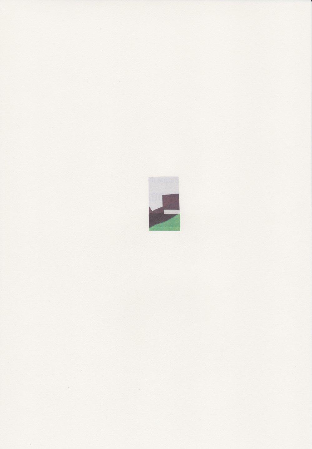 Au Détour - n ° 2 - Assemblage sur papier velin -    Collage 3,5 x 2 cm - (Encadré 31,9 x 23,2 cm) - 2017