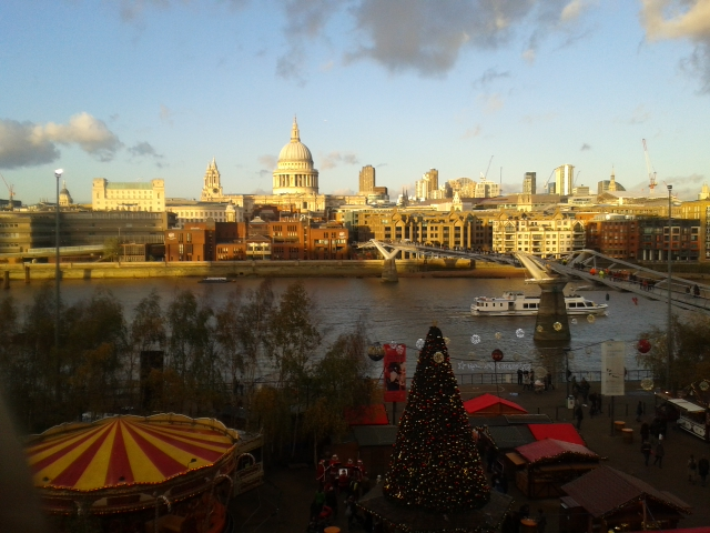 London skyline from Tate Modern with Christmas market