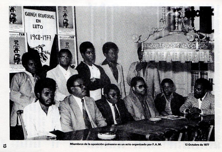 Miembros del Frente Anti-Macías F.A.M. Fuente- Informe FAM- Guinea Ecuatorial Una Dictadura Silenciada (Barcelona- Frente Anti-Macías F.A.M. y Lliga dels Drets dels Pobles, 1978).