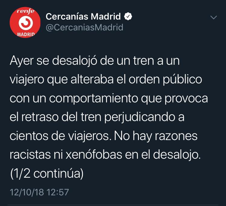 Scrennshot cuenta oficial de twitter Cercanías Renfe madrid