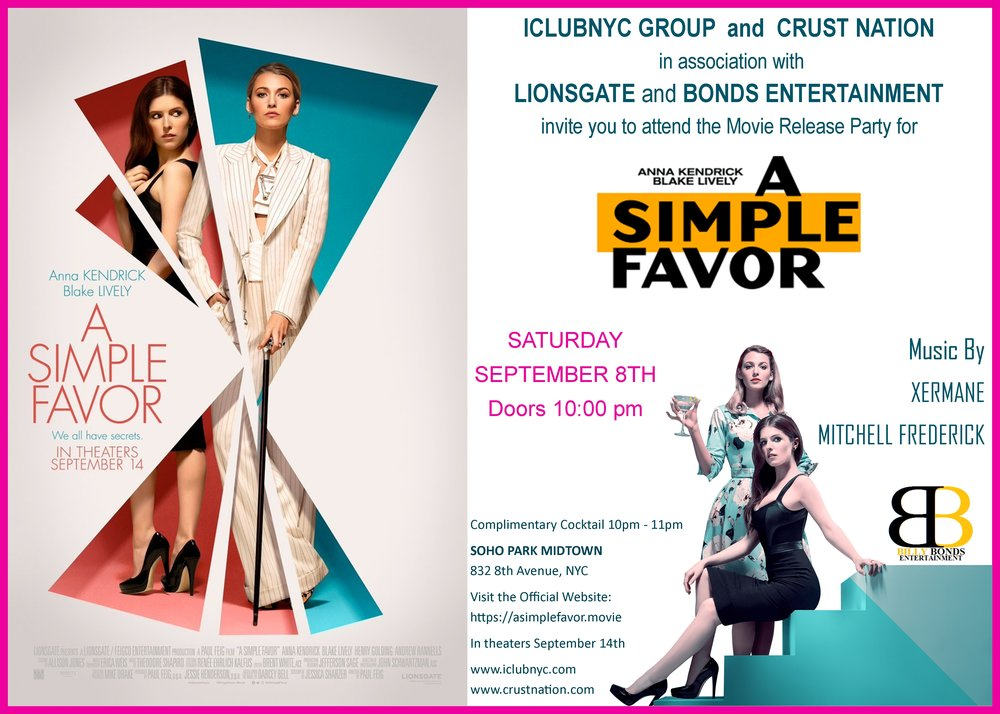 A Simple Favor  movie release party at SoHo Park