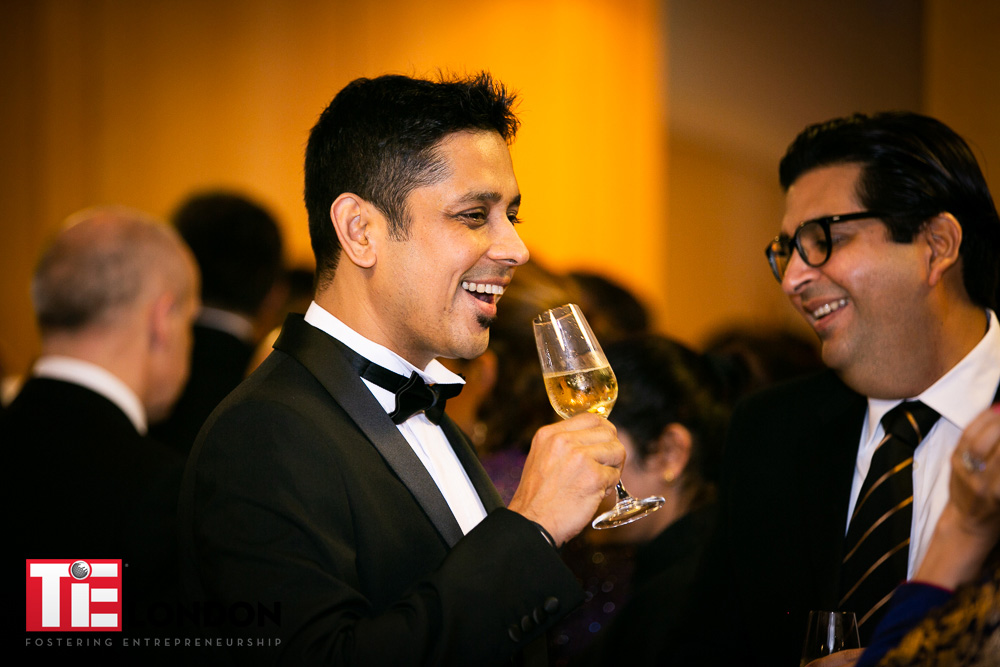 Guests enjoying a champagne reception @   TIE London Awards, Knightsbridge.