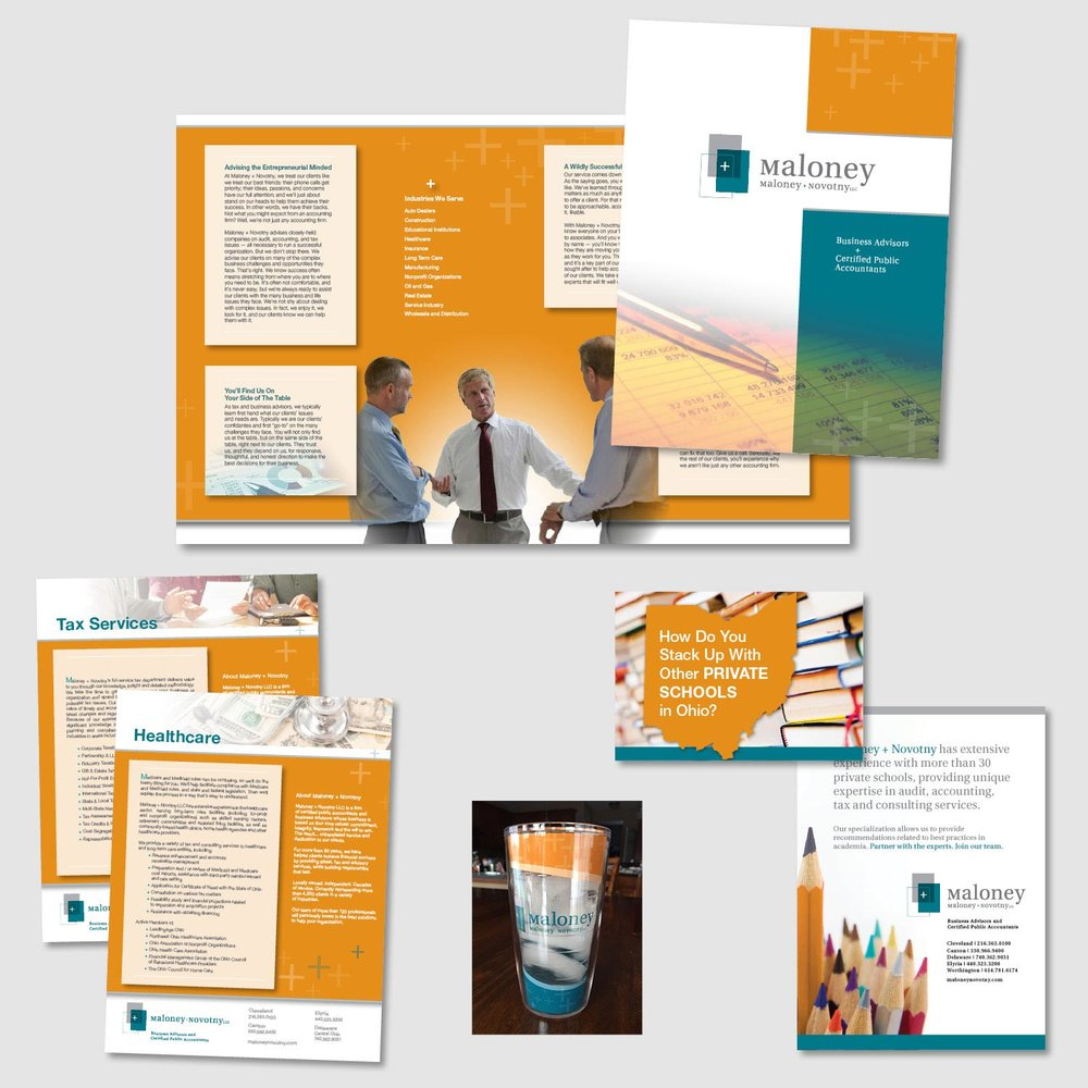 "These pieces were created for Maloney + Novotny, a Cleveland based firm of certified public accountants and business advisors. Working off of the ""+"" in their logo, I established this look with blocks of color and accounting related images. Orange was added to enhance the teal and gray of the Maloney + Novotny logo."