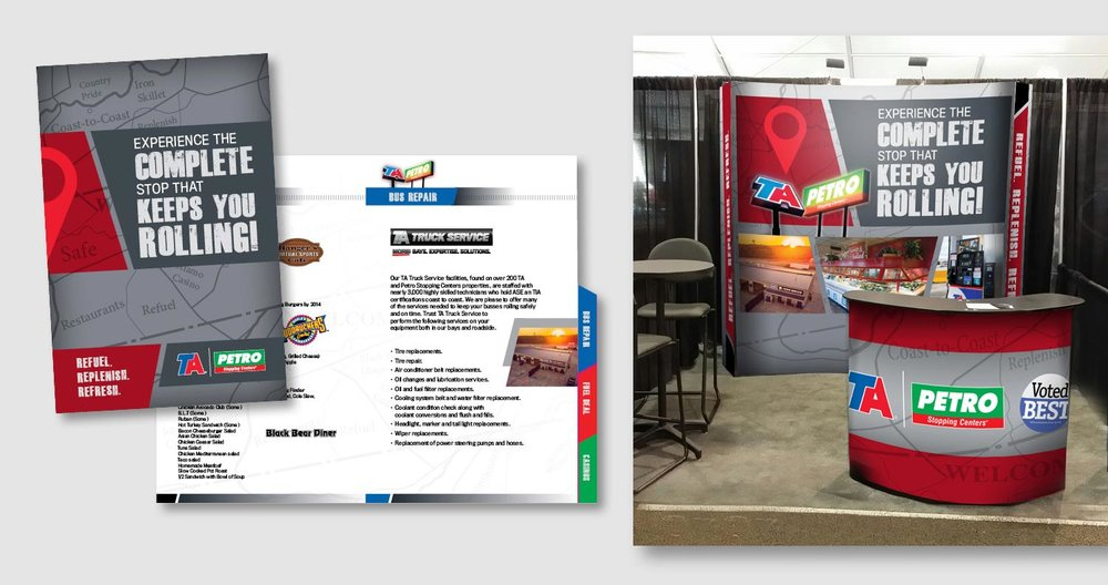 When preparing for a trade show, Travel Centers of America asked for eye catching graphics for their booth and podium as well as a companion spiral bound brochure featuring amenities and locations. The gray background with a darker gray strike through varnish adds a professional touch. The map is continued inside as a screened back element and the red map marker and angled bars ad a pop of color and interest.       work completed for Full Circle Creative