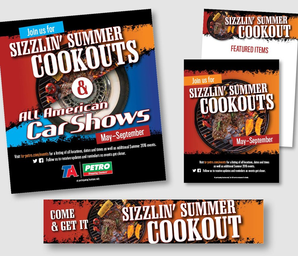 I created a campaign look for special summer events held and Travel Centers of America locations. The pieces are colorful yet call attention to the headlines and important dates or contact information. Campaign pieces included ads, flyers, banners, featured items menu board, etc.      work completed for Full Circle Creative