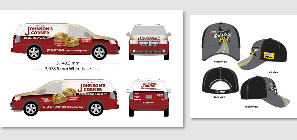 The Johnson's Corner vehicle wrap and TA and Petro cap are two projects where I needed to think of a design from multiple angles. Each view is appealing and works to sell the clients message.      work completed for Full Circle Creative