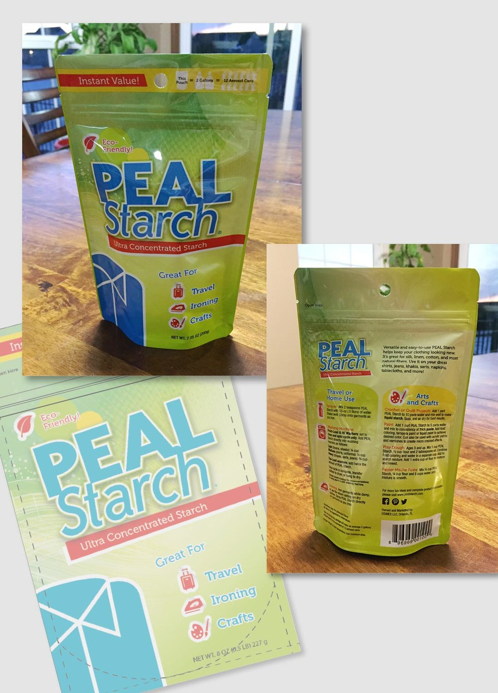 Peal Starch, a brand of clothing starch needed an updated package and wanted to focus on its multiple uses or benefits...ironing, crafts, travel, etc. I chose a bright color scheme that would be different than other packages on the store shelves and allow pertinent information to be called out. Icons were used to easily understand directions as well as possible uses for the product.      work completed for Full Circle Creative