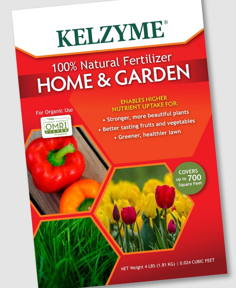 A new package design was created for Kelzyme. To highlight the benefits of their fertilizers, and eventually other products, hexagon shapes are used for the images. This allows each image to shine and can easily be swapped out for others pertaining to a particular product. The red-orange background balances well with the yellow, orange and green of the chosen images and allows the title and brand name to stand out.       work completed for Full Circle Creative