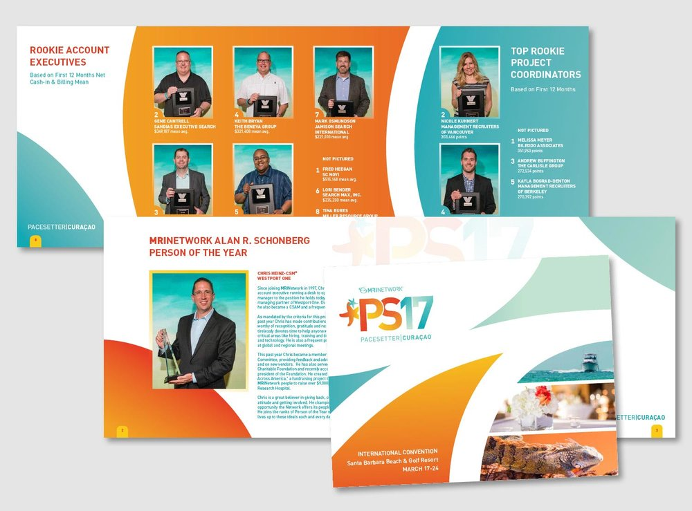 Each year the top recruiters and offices of MRINetwork are invited on a vacation getaway. A commemorative 32 page book is put together showcasing the award winners and events. Waves of tropical sunset orange and sea foam green carry you through the layouts of this annual award book. No two spreads are the same but the colors and shapes flow easily from page to page and make a cohesive piece.       work completed for Full Circle Creative