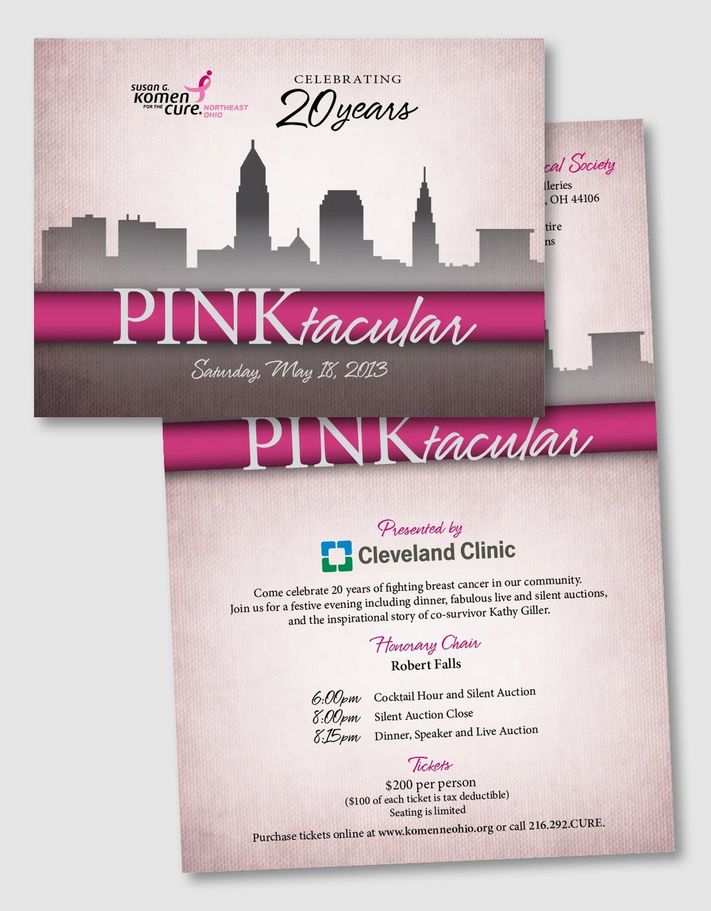 Pinktacular is a fundraiser of the Susan G. Komen for the Cure Northeast Ohio Chapter. Working off the skyline of Cleveland that had been used in race collateral, this invitation design has more of a sophisticated feel. The textured, muted pink background allows the bright pink ribbon and logo to stand out.       time and costs were donated as a contribution to this fundraiser