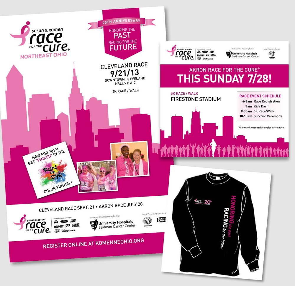 A number of pieces were created to promote the Susan G. Komen Race for the Cure Northeast Ohio Chapter events—posters, pins, stands, brochures, ads, t-shirts, etc. The bright and light pink were pulled from the main logo and carried through pieces along with a bright white background. Both Cleveland and Akron skyline illustrations as well as images or illustrations of runners and participants brought attention to these fun yet important fundraising races.