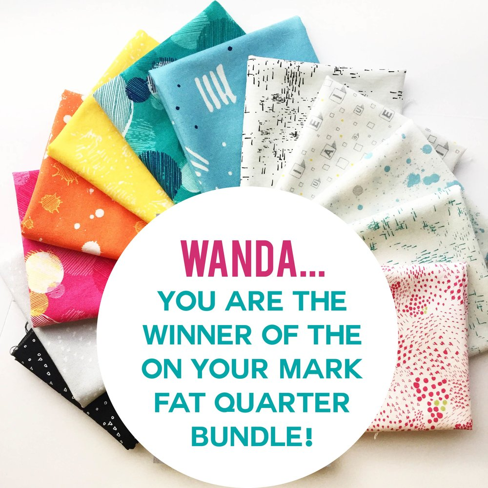 Congrats! - Wanda of @wandaslifesampler is receiving a fat-quarter bundle of On Your Mark fabric from Paintbrush Studios. Check your mailbox in the next couple of days. Happy sewing.