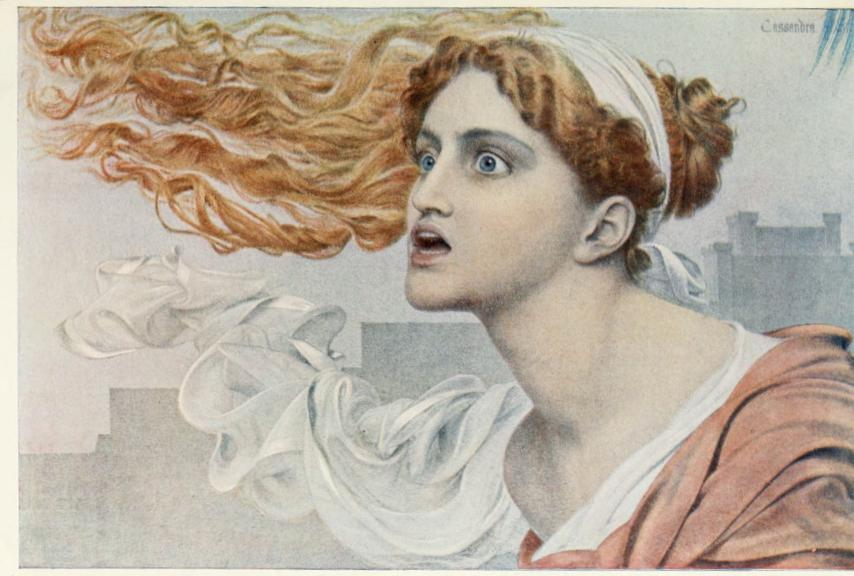 Cassandra  by Anthony Frederick Augustus Sandys. Before 1904. Source: The Studio (October 1904): 13.  University of Toronto and Internet Archive