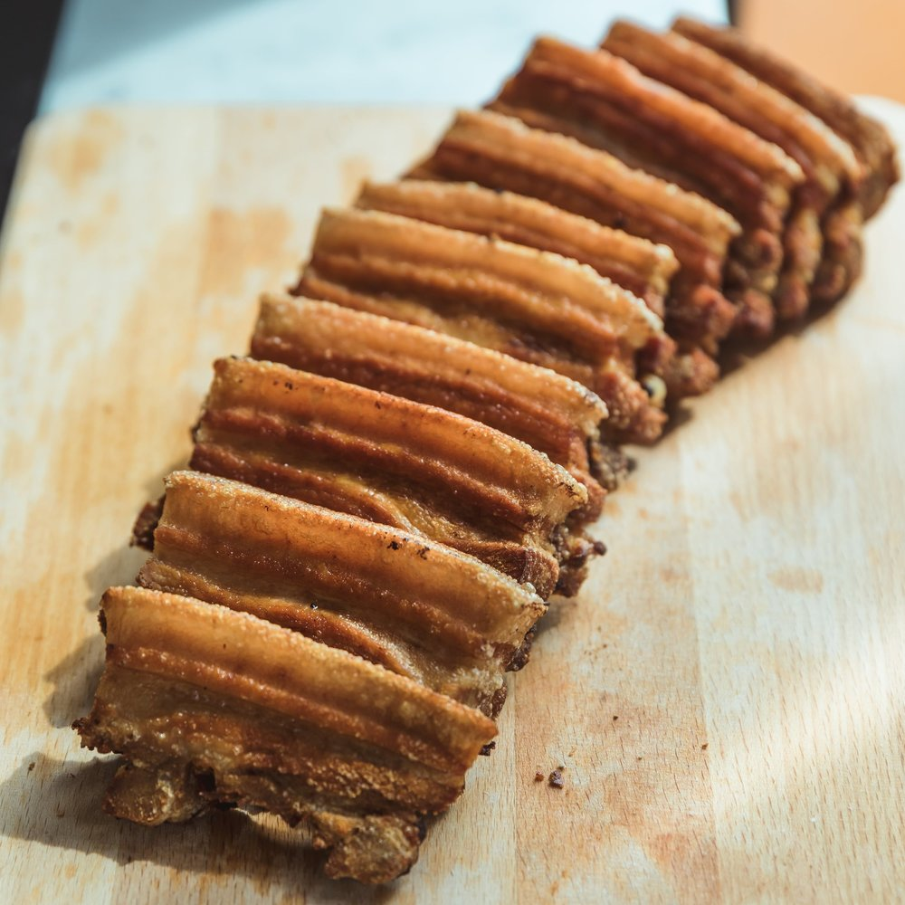 Lechon Kawali, deep fried pork belly dehydrated for 24hrs to achieve an extra crispy skin. Without a doubt the star of the Kamayan Feast!